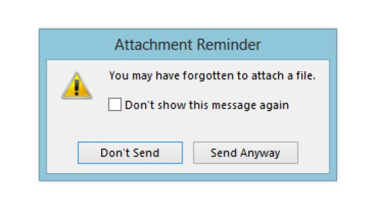 Forgotten Attachments in Outlook 2013